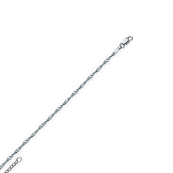 14 Καράτια Λευκό χρυσό 1.7 mm ρυθμιζόμενο Σιγκαπούρη αλυσίδα αστράγαλο βραχιόλι 10 ιντσών κοσμήματα δώρα για τις γυναίκες