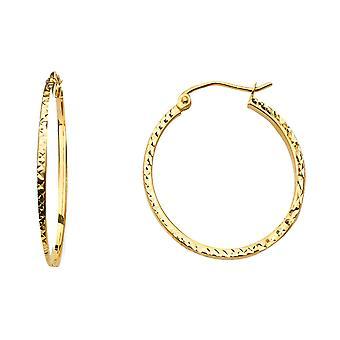 14k Giallo Oro 1.5mm Quadrato Tubo Sparkle Cut Round Hoop 20mm Orecchini Regali Gioielli per le donne