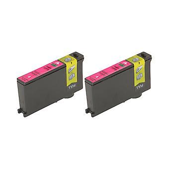 RudyTwos 2 x erstatning for Lexmark 100XL blekk enhet Magenta kompatibel med innvirkning S300, S301, S302, S305, S308, samhandle S601, S602, S605, S606, S608, tolker S402, S405, S408, S409, intuisjon S502,