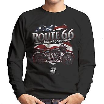 Route 66 US Flag & Motorcycle Men's Sweatshirt