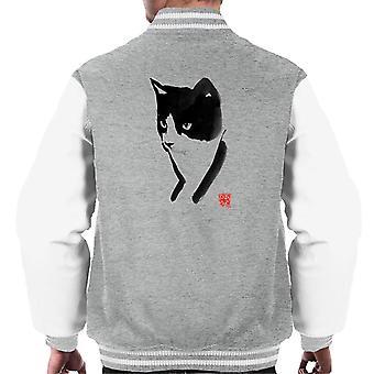 Katze Gesicht schwarze Tinte Männer's Varsity Jacke
