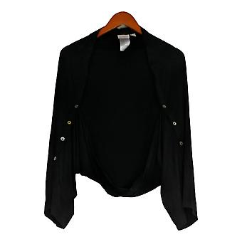 LOGO by Lori Goldstein Women's Sweater Shrug Black A347659