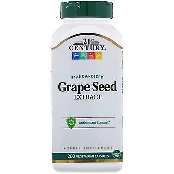 Extrait de pépins de raisin standardisé du 21e siècle, 200 capsules végétariennes