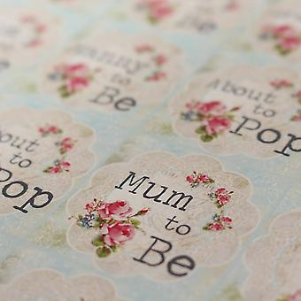 Floral Doily Baby Shower Sticker Sheet - 35 Stickers 'Mum To Be',  'About To Pop'