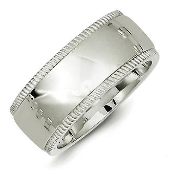 925 Sterling Silver Solid Polished Milgrain Half Round Engravable 9mm Millgrain Comfort Fit Band Ring - Ring Size: 4 to