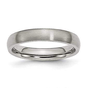 Titan halbe Runde gravierbare 4mm gebürstet Band Ring Schmuck Geschenke für Frauen - Ring Größe: 4 bis 13