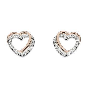 Dew Silver Entwined Heart Rose Gold Plate Cubic Zirconia Earrings 3706RCZ024