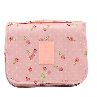Portable Hanging Travel Organizer Sac Pouch Pink Cherry
