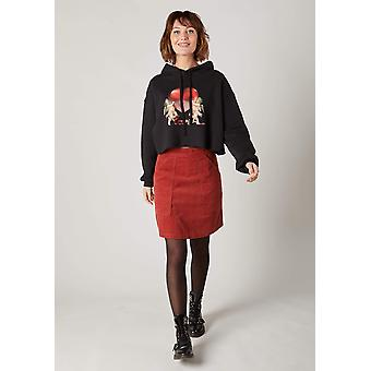 Heather short cord skirt - red