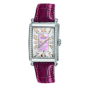 Gevril Women's 7248RE Avenue of Americas Mini Diamond MOP Dial Nahkakello