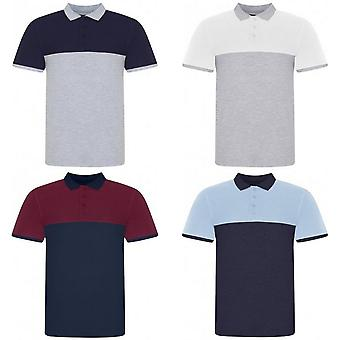 Awdis Mens Piqu Colour Block Polo Shirt
