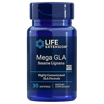 تمديد الحياة ميجا GLA مع Lignans السمسم، 30 Softgels