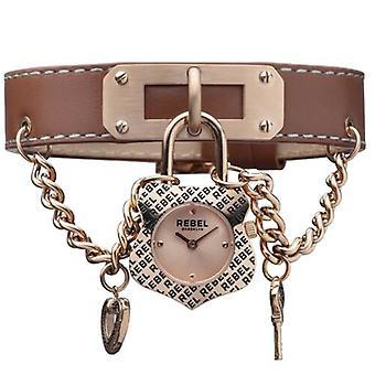 Rebel Women-apos;s RB114-8151 Seagate Rose-Gold IP Brown Montre-bracelet en cuir