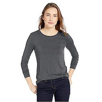Marca - Daily Ritual Women's Jersey camisa de cuello redondo de manga larga, brezo carbón, X-Large