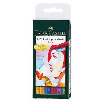Faber-Castell PITT Artist Brush Pens Set of 6 (Basic)