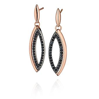 Fiorelli Silver Ladies 925 Sterling Silver Rose Gold Pave Black Cubic Zirconia Marquise Drop Boucles d'oreilles