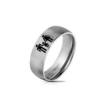 Classic family logo engraved stainless steel ring