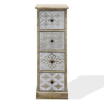Rebecca Furniture Chest of Drawers Narrow White Wood Beige Shabby 80.5x29x25