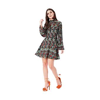 Floral print smock mini dress with high neck