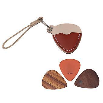 3 Pcs Guitar Picks avec Brown Instrument Part Leather Guitar Pick Bag