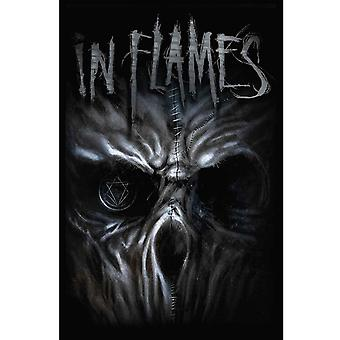 In Flames Textile Flag Poster Ghost Band Logo new Official Black 70cm x 106cm