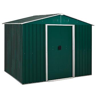 Outsunny 8 x 6ft Outdoor Garden Roofed Metal Storage Shed Tool Box with Ventilation & Sliding Doors, Green