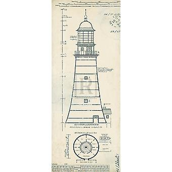 Lighthouse Plans II Poster Print by The Vintage Collection (8 x 20)