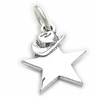 Star With A Cowboy Hat Sterling Silver Charm .925 X1 Cowgirl Stars Charms - 3778