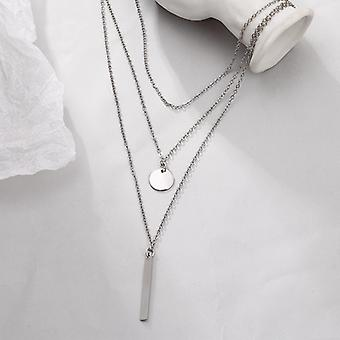 Silver Triple Layered Necklace with Drop Bar Pendant
