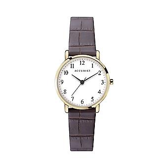 Accurist 8371 Classic Gold & Brown Leather Ladies Watch