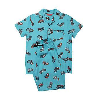 Minijammies Lucas 6543 Boy's Blue Motorbike Cotton Pyjama Set