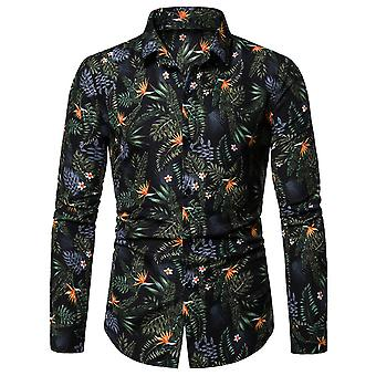 Yunyun Mens Floral Print Hawaiian Shirt Long Sleeves Button Down Casual Shirt Plus Size
