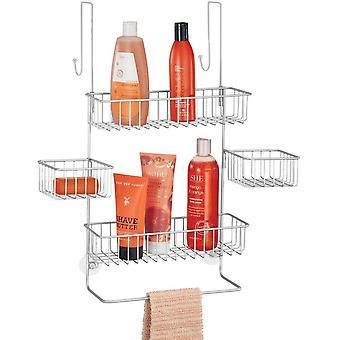 mDesign Shower Caddy   Hanging Shower Shelves with 3 Tiered Baskets   Over Door Storage