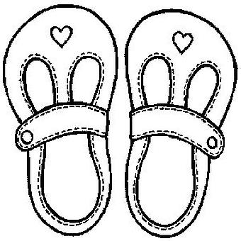 Baby's Shoes Wood Mounted Stamp