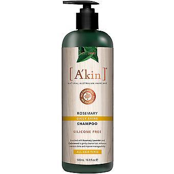 A'kin Daily Shine Rosemary Shampoo Natural Shine Scalp Cleansing Hair Care 500ml