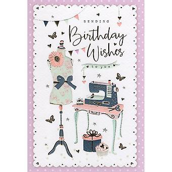 ICG Ltd Open Birthday Card Palladium Range - Sewing