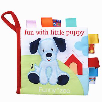 Funny With Little Puppy Educational Fabric Book With Sound Paper Bb Device Bell Mirror Soft Cloth Book