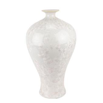 Chinese pure white plum vase with crystal glaze and white background
