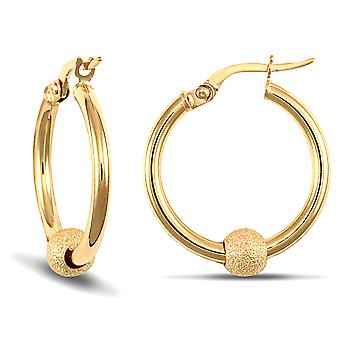 Jewelco London Ladies 9ct Yellow Gold 5mm Moondust Frosted Ball 2mm Hoop Earrings 19mm