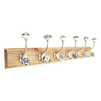 Six Double Metal Coat Hooks With Ceramic On Wooden Base