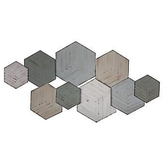 Zeitgenössische strukturierte sechseckige Metall-Wand-Dekor
