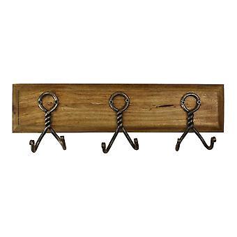 3-częściowe podwójne metalowe haczyki na drewnianej podstawie