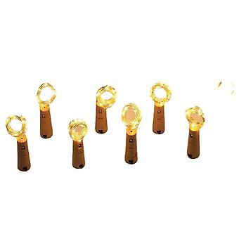 6Pcs blanc chaud 20led guirlande fil de cuivre liège corde corde lumières de fées pour bouteille artisanale en verre az12134