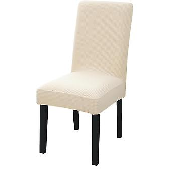 Plain Dining Chair Cover Spandex Elastic Chair Slipcover Case Stretch Seat(Beige)