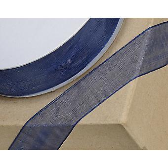 25m Navy Blue 3mm Wide Woven Edge Organza Lint voor ambachten