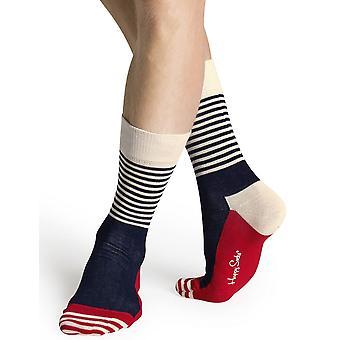 Happy Socks rand halv strumpor - blå/vit