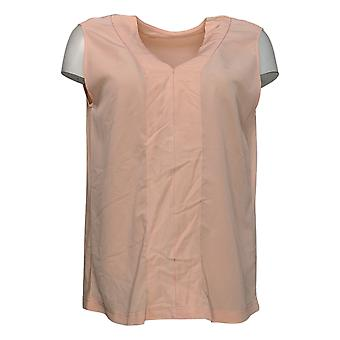 DG2 By Diane Gilman Women's Top Mixed Media V Neck Shell Pink 648362