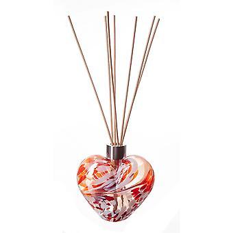 În formă de inimă Reed Difuzor roșu și alb de Amelia Art Glass