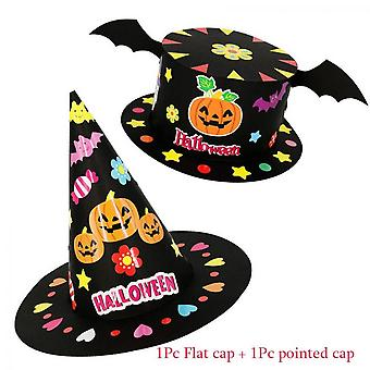 2pcs Halloween Diy Hat Handmade Toys For Kids Children Cartoon Party Decoration Hats Paper Cap Crown Crafts Toy Christmas Supply