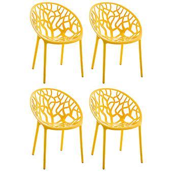 Esszimmerstuhl - Esszimmerstühle - Küchenstuhl - Esszimmerstuhl - Modern - Gelb - Kunststoff - 59 cm x 60 cm x 80 cm